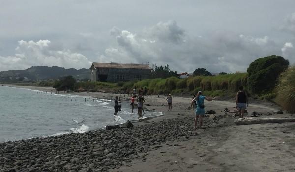 Fraser High students clean up a Raglan beach - Image Fraser High